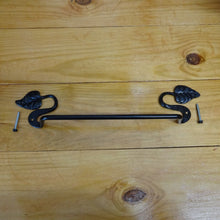 "Forged Steel Towel Bar w/Leaves - 19-3/4"" - Black, TB-0248"