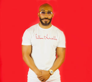 Fallon Aurielle Unisex Signature T-Shirt (White & Red)