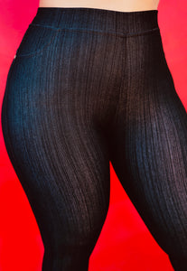 Nice Booty Denim Leggings (Black) (Curvy Plus)