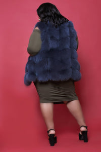 Foxy Fox Fur Vest (Navy)