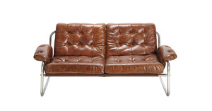 Hire sofa leather retro tan buttoned metal frame UK