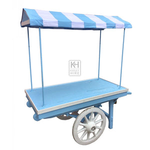 Traditional blue market stall barrow for hire prop