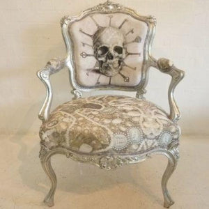 Punk skull and cross bones armchair