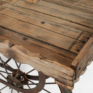 Hire cart for event display reclaimed wood top with metal base and wheels UK (4097197637668)