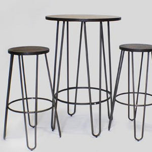Hairpin bar stool set Ireland furniture hire for parties and events (1424701292580)