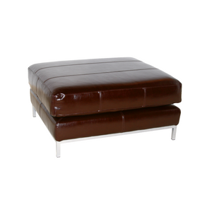 Brown leather effect ottoman for hire Portugal (1497020432420)