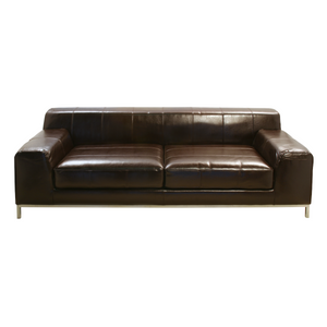 Furniture hire Portugal brown leather sofa