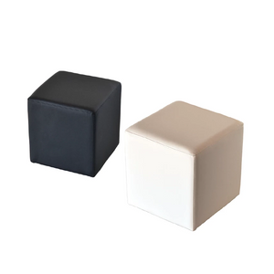 Cube seat low stool white or black faux leather Portugal event hire (1497035800612)