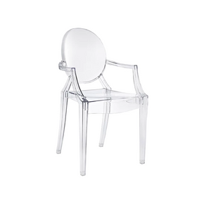 Furniture hire Portugal Lisbon transparent ghost chair with arms