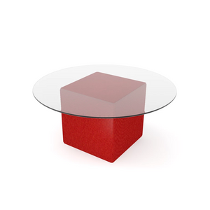 Glass top coffee table with red base event hire in Portugal Lisbon