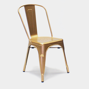 Tolix style metal chair hire Ireland in copper