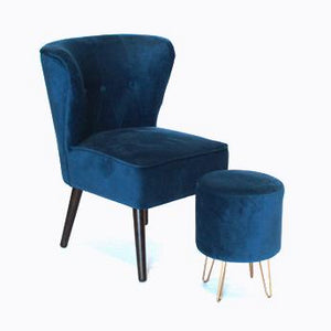 Blue suede lounge chair with footstool for hire Ireland