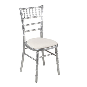 Furniture hire and equipment rentals - Bamboo Silver Chair with White Vinyl Seat Cushion