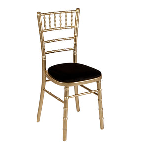 Furniture hire and equipment rentals - Bamboo Gold Chair with Black Seat Cushion