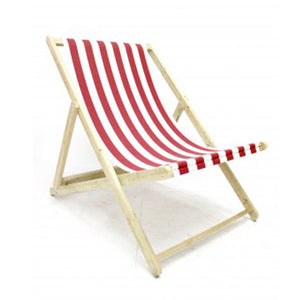 Giant deck chair for hire fun event prop red striped (1379684188196)