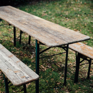 German beer table hire outdoor bench seating