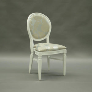 Damask gold and silver wedding and banquet chair hire Chandelle UK