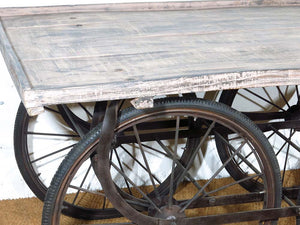 For Hire Vintage Indian cart reclaimed wood bicycle wheels UK