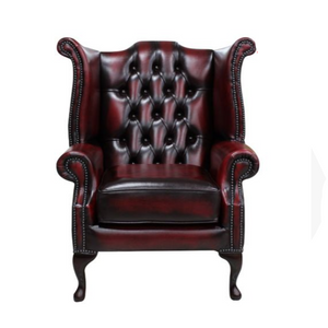 Leather chesterfield wingback armchair for event rentals