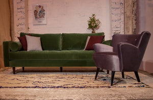 Green velvet sofa midcentury inspired for hire