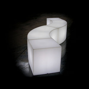 Furniture hire and equipment rentals - Swirl Stool Illuminated Curved Bench (839382990884)