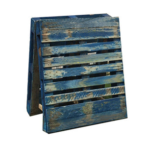 Blue pallet A board for display for event hire