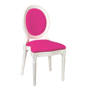 Hire chair for weddings and events pink and white