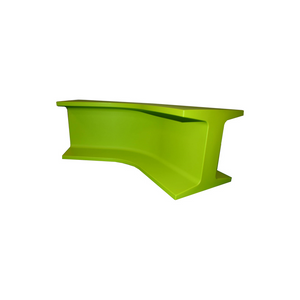 Green curved bench seat hire (1379159605284)