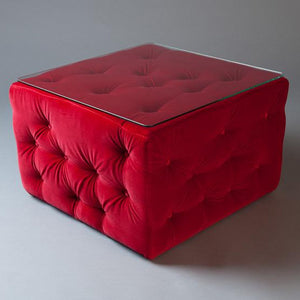 Red velvet lounge table with glass top hire