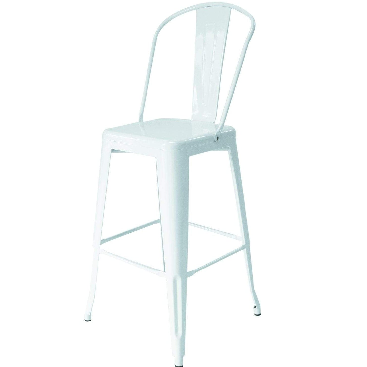 Astonishing Furniture Hire Tolix High Back Stool White Designed For Hire Gmtry Best Dining Table And Chair Ideas Images Gmtryco