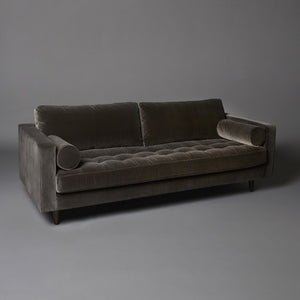 Brown velvet sofa for hire 3 seater midcentury inspired UK