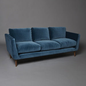 Blue velvet sofa for hire 3 seater midcentury style