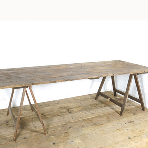 Furniture hire and equipment rentals - Rustic Wooden Trestle Table (1222261702692)