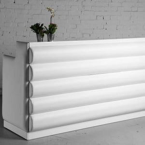 White padded DJ booth / reception counter for hire London UK