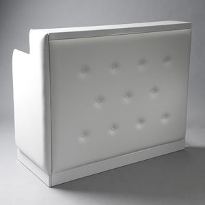 White padded DJ booth for hire London UK