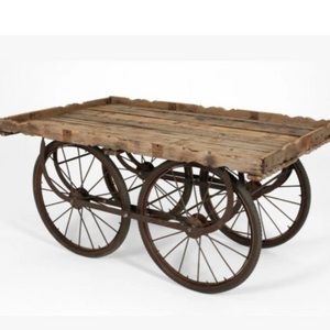Hire cart for event display reclaimed wood top with metal base and wheels UK