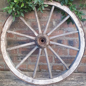 Vintage prop hire wooden cart wheel