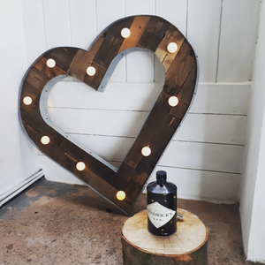Vintage wood heart for weddings lighting