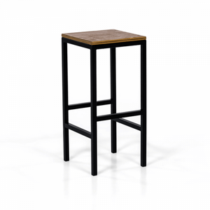 Bar stool hire Portugal black metal and wood (1491013861412)