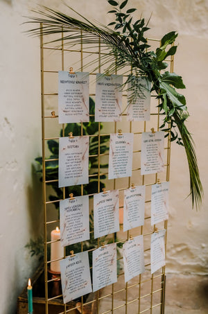 Rustic wedding hire table plan grid metal gold free-standing