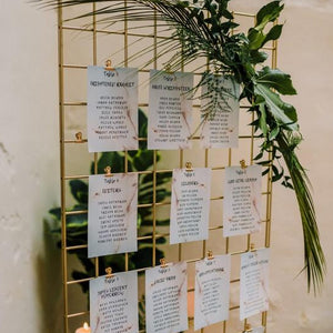 Rustic wedding hire table plan grid metal gold free-standing (1376335364132)
