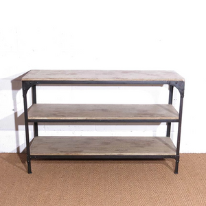 For Hire distressed wood and metal vintage industrial style shelf unit