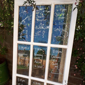 Vintage hire wedding table plan distressed window