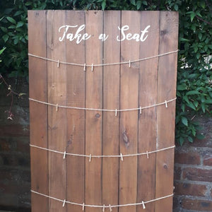 Rustic wedding hire table plan holder wooden plank