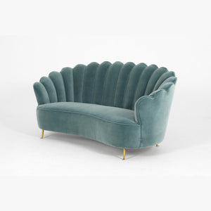 Furniture hire and equipment rentals - Mid Century Scallop Back Sofa SOF168