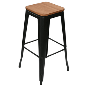 Furniture hire and equipment rentals - Tolix Style Stool Black and Wood