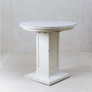 Distressed white plinth table for weddings Berlin Germany event hire