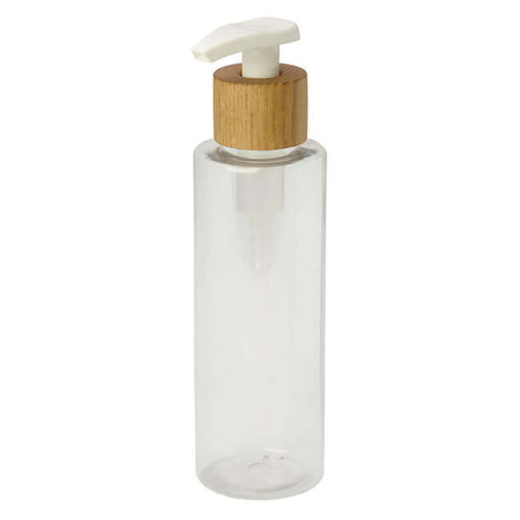 Wood lotion pump with bottle