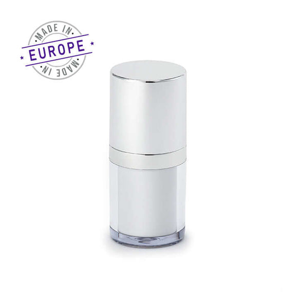 15ml white and silver regula airless bottle