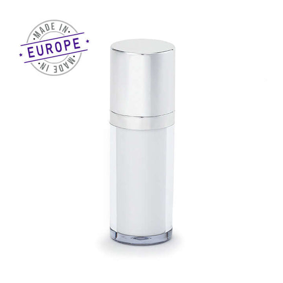 30ml white and silver regula airless bottle